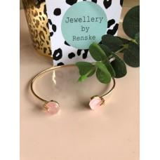 Armband goud roze steen