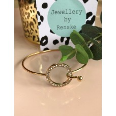 Armband goud rond steen